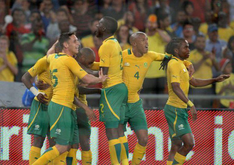 Os jogadores da África do Sul comemoram o gol.