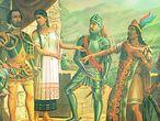 Cortes, à esquerda, e Montezuma