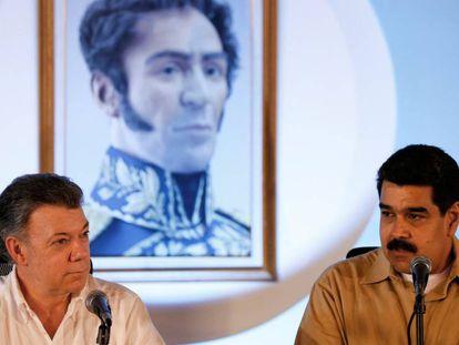 Santos e Maduro, durante a conferência de imprensa.