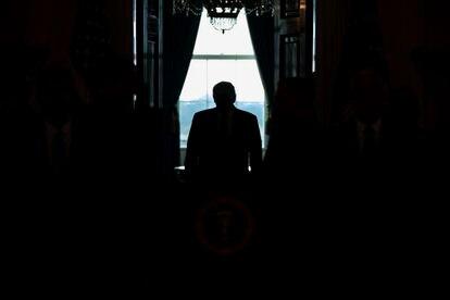 O presidente Trump na Casa Branca, em uma foto de arquivo.