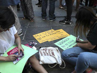 Concentração em Madri pela funcionária da Iveco, na sexta-feira 31 de maio.