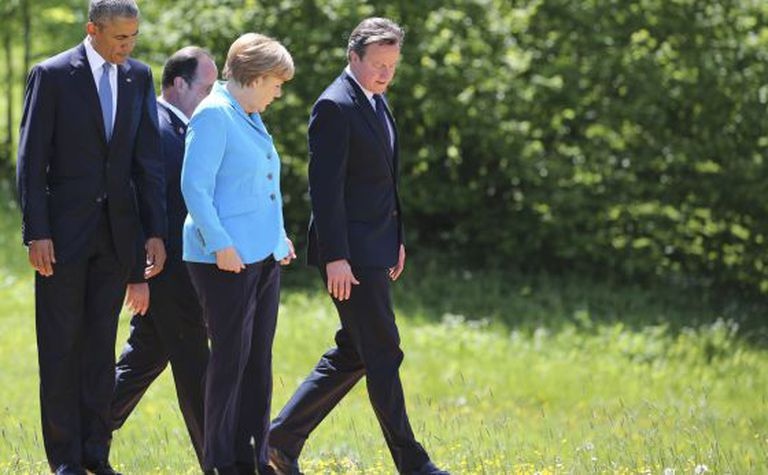 Obama, Hollande, Merkel e Cameron no encontro do G7.