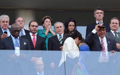 A presidenta Rousseff, de verde, na abertura da Copa.