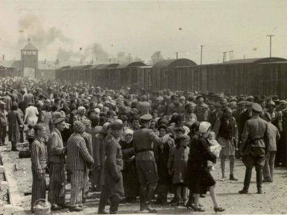 Chegada de judeus a Auschwitz.