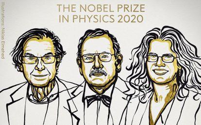 Da esquerda para a direita: Roger Penrose, Reinhard Genzel e Andrea Ghez, ganhadores do Nobel de Física deste ano.