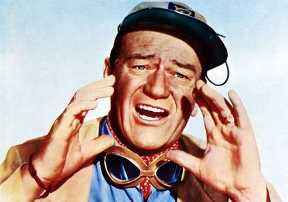 John Wayne gritando em 'Hatari' (1962).