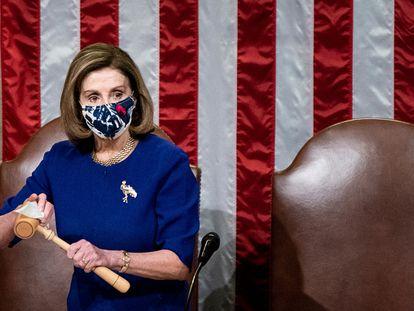 Nancy Pelosi durante a sessão de quarta-feira no Capitólio, em Washington.