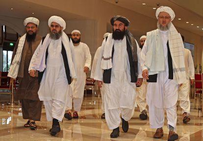 Delegação do Talibã, em um hotel em Doha, Qatar, em 12 de agosto.