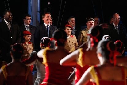 O presidente Jair Bolsonaro durante a comemoração do aniversário de criação do Colégio Militar de Brasília