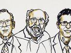 James Peebles, Michel Mayor y Didier Queloz, premios Noble de Física, en un dibujo distribuido por la Fundación Nobel.