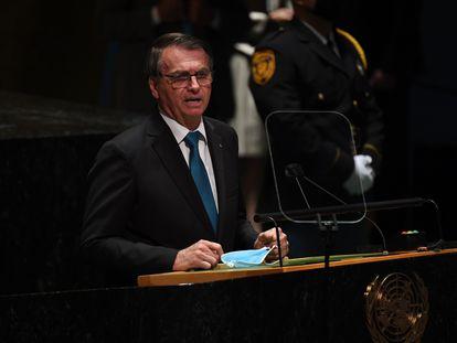 O presidente Jair Bolsonaro discursa nesta terça-feira na abertura da Assembleia Geral da ONU, em Nova York.