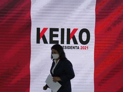 A candidata à presidência do Peru Keiko Fujimori, durante a coletiva em que pediu a impugnação de meio milhão de votos, na quarta-feira, em Lima.