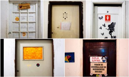 Detalhes das portas da Ocupação 9 de Julho.