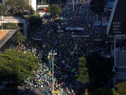 Manifestação de apoiadores do presidente Jair Bolsonaro em São Paulo, neste domingo, 1 de agosto.