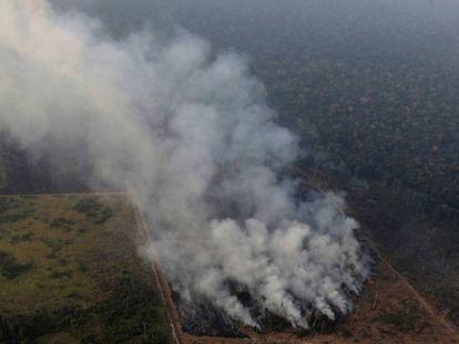 Colunas de fumaça cerca de Porto Velho, no Estado brasileiro de Rondonia, o 21 de agosto.