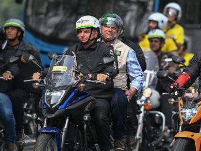 O presidente Jair Bolsonaro no domingo passado, durante uma manifestação de motociclistas no Rio de Janeiro.