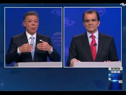 Santos e Zuluaga, durante o debate.