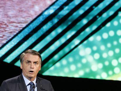 Bolsonaro em apresentação para investidores em Riad, Arábia Saudita