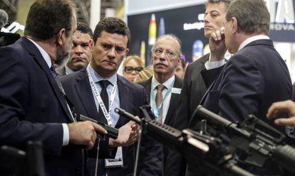 O ministro Sergio Moro, no último dia 2, durante uma feira do setor de segurança no Rio de Janeiro.