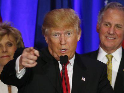 Donald Trump, após a vitória, na Carolina do Sul.