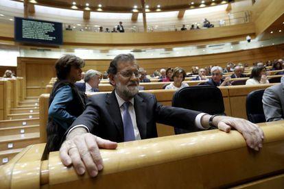 O premiê espanhol, Mariano Rajoy, no Senado.