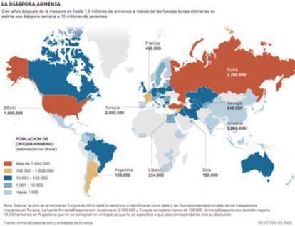 Mapa dos milhões de armênios espalhados pelo mundo.