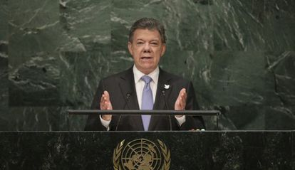 O presidente de Colômbia, Juan Manuel Santos, na ONU.