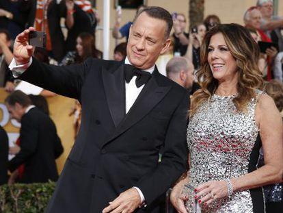 Tom Hanks e sua mulher, a atriz Rita Wilson.