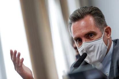Luiz Paulo Dominguetti, representante autônomo da Davati medicamentos, na sessão da CPI da pandemia nesta quinta-feira.