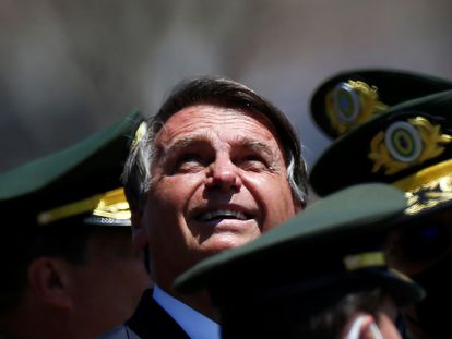 Jair Bolsonaro durante cerimônia do Dia do Soldado, em Brasília.