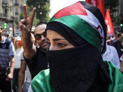 Manifestação em Goutte d'Or contra ofensiva de Israel em Gaza, em meados de 2014.