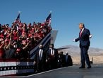 "(FILES) In this file photo US President Donald Trump arrives for a Make America Great Again rally at Laughlin/Bullhead International Airport October 28, 2020, in Bullhead City, Arizona. - Donald Trump -- who finds himself more and more isolated, with his quixotic quest to overturn Joe Biden's election victory squashed at every turn -- is openly musing about a second run at the US presidency in 2024. ""It's been an amazing four years. We are trying to do another four years. Otherwise, I'll see you in four years,"" he told guests at a White House Christmas party on December 1, 2020. (Photo by Brendan Smialowski / AFP)"