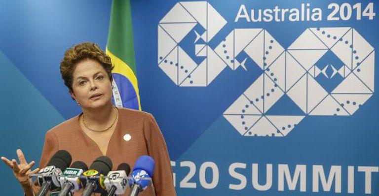A presidenta Dilma em entrevista durante a reunião do G-20.