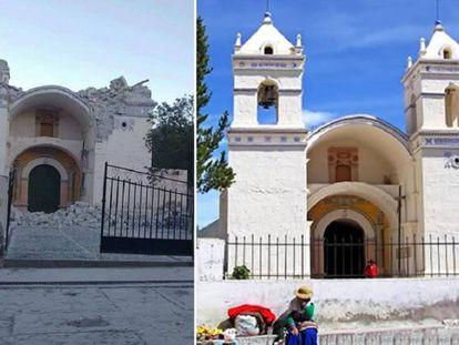 A Igreja distrito de Ichupampa destruída depois do tremor.