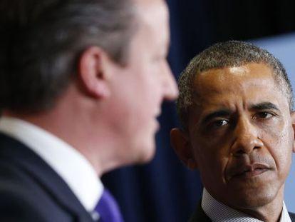 O presidente Obama com David Cameron.