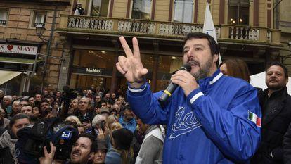 Matteo Salvini, durante ato em Forlì, em 11 de novembro.
