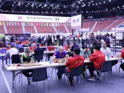 Uma pequena parte do local da Olimpíada na sexta-feira, durante a primeira rodada.