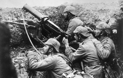 Soldados alemães durante a Primeira Guerra.