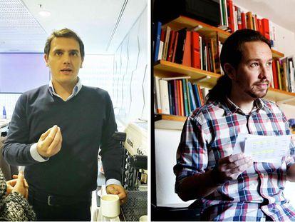 À esquerda, Rivera, com seus colaboradores; à direita, Iglesias, em sua casa.