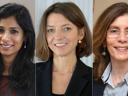 As economistas Gita Gopinath, Laurence Boone e Pinelopi Koujianou.