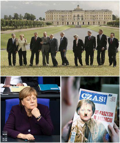 Merkel, rodeada de homens na cúpula do g-9 em San Petersburgo, em 2006. E, abaixo, aparentemente adormecida em dezembro, no Parlamento alemão. E na capa de uma revista polonesa retratada com uma caricatura, em 2007.