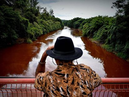 Um homem observa o rio Paraopeba, afetado pelo rompimento da barragem da mina do Feijão, em Brumadinho.