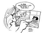 Homenagem a Quino feita pela cartunista Laerte em 2014.