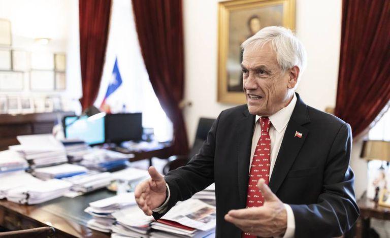 Sebastián Piñera durante a entrevista na última quinta-feira, no palácio de La Moneda