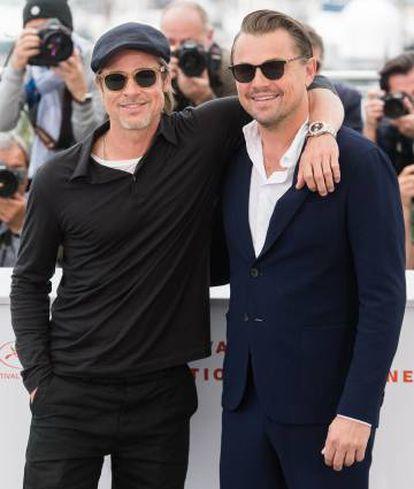 Brad Pitt e Leonardo DiCaprio durante a apresentação de 'Era Uma Vez... em Hollywood', filme de Tarantino que eles protagonizam, na última edição do Festival de Cannes.