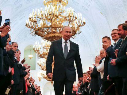 Putin antes da cerimônia de posse no Kremlin, em Moscou, nesta segunda-feira, dia 7 de maio