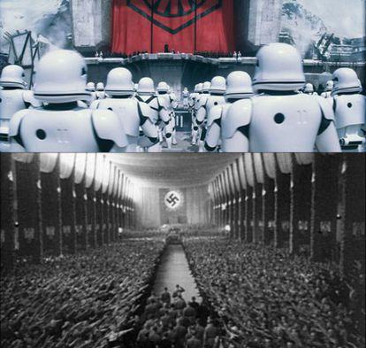 Fotogramas de O Despertar da Força (acima) e Triunfo da Vontade (abaixo).