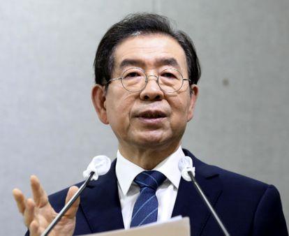 Park Won-soon, prefeito de Seusl, fala em uma conferência na capital sul-coreana na quarta-feira.