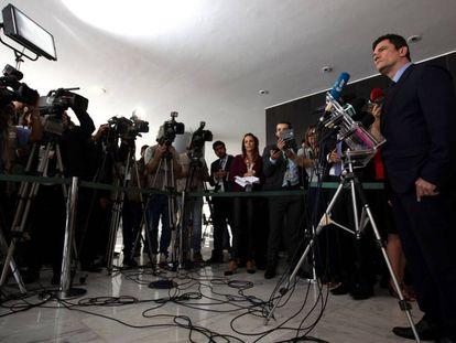 O ministro Moro em entrevista no Palácio do Planalto.