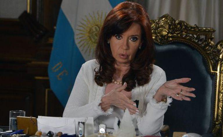 Cristina Kirchner, durante seu discurso nesta terça-feira.